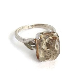 Vintage Raw Herkimer Diamond Ring Sterling Silver